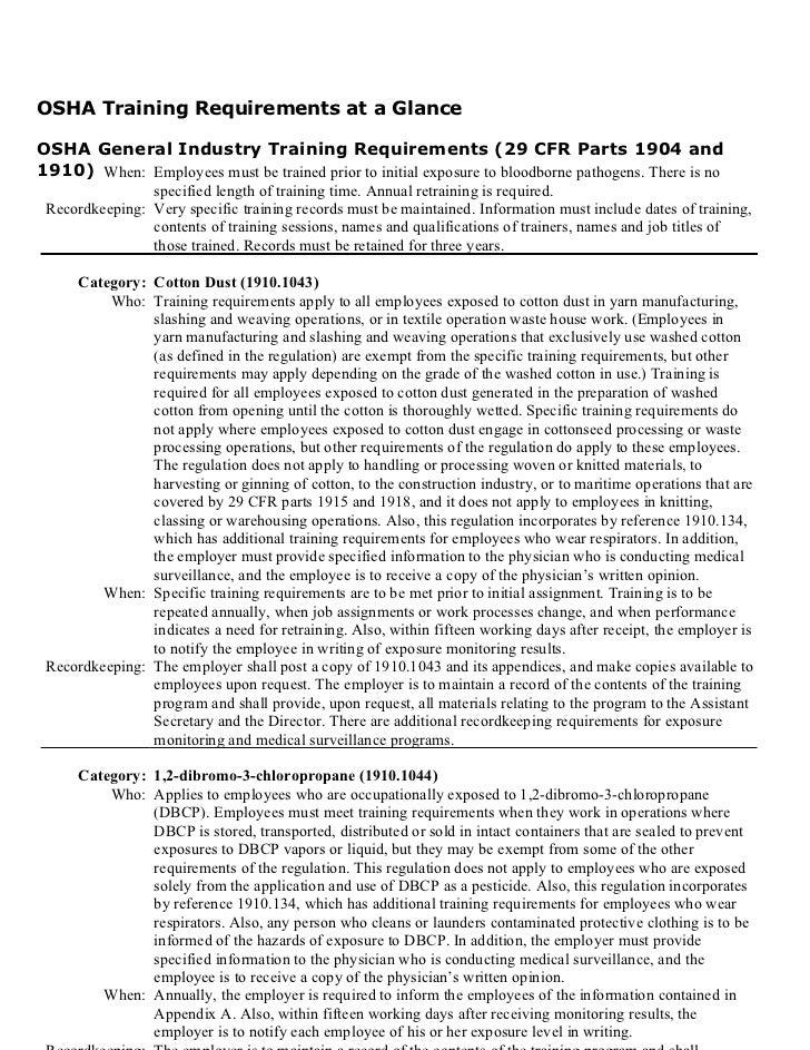 Osha gen industry training requirements