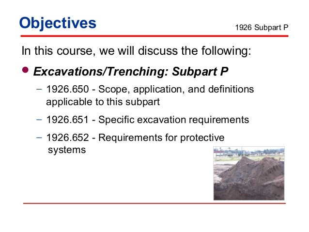 osha trenching requirements These requirements apply to all open excavations made in the earth's surface  into which  (osha 1926650) hazard recognition in trenching and shoring.