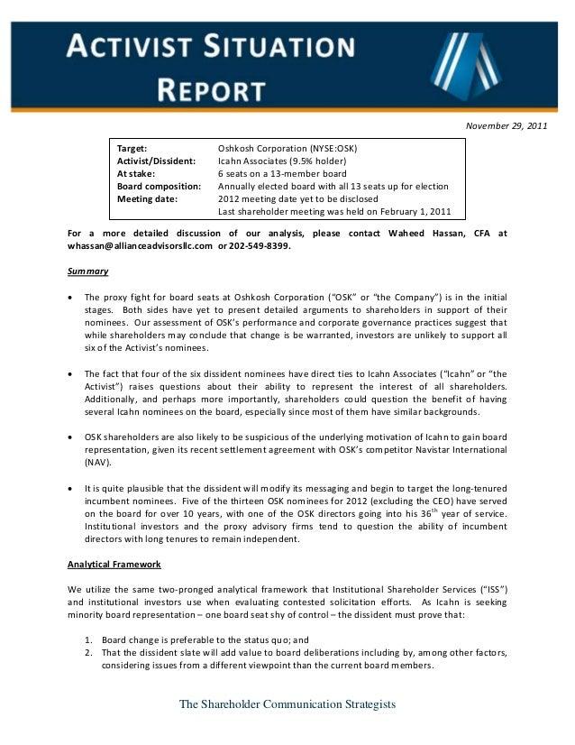 Oshkosh Activist Situation Report