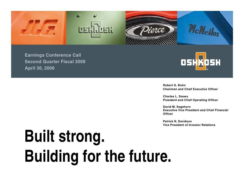 Oshkosh Truck Corp. Earning Presentation