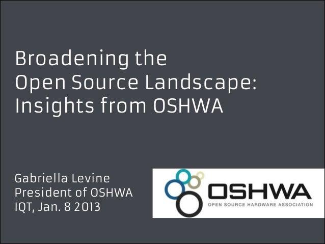 Broadening the Open Source Landscape: Insights from OSHWA  Gabriella Levine President of OSHWA IQT, Jan. 8 2013