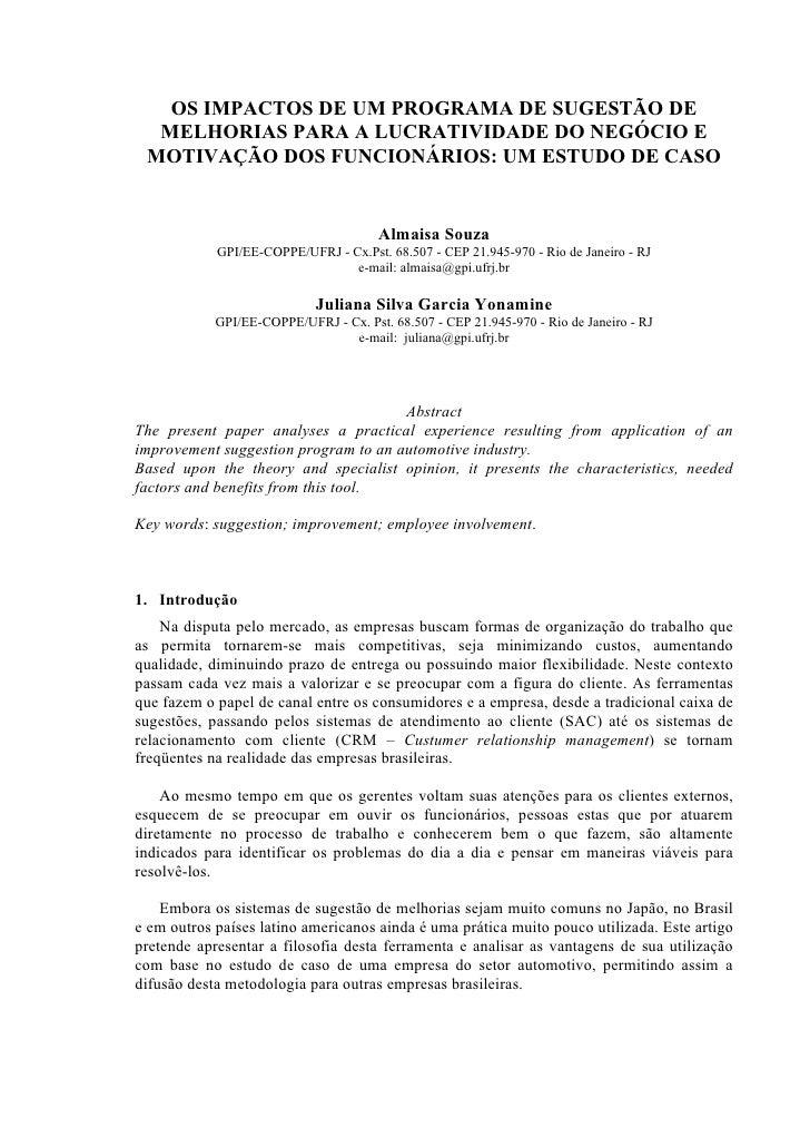 OS IMPACTOS DE UM PROGRAMA DE SUGESTÃO DE   MELHORIAS PARA A LUCRATIVIDADE DO NEGÓCIO E  MOTIVAÇÃO DOS FUNCIONÁRIOS: UM ES...