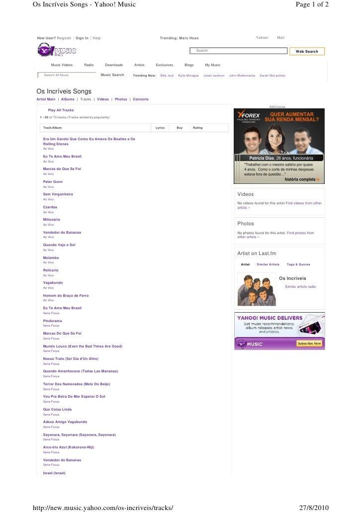 Os Incríveis Songs - Yahoo! Music                                                                                         ...