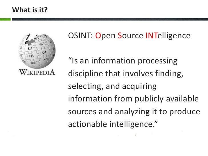 open source intelligence essay A benchmarking analysis of open-source business intelligence tools in healthcare  of open-source business intelligence tools in healthcare environments.
