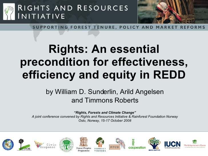 Rights: An essential precondition for effectiveness, efficiency and equity in REDD           by William D. Sunderlin, Aril...