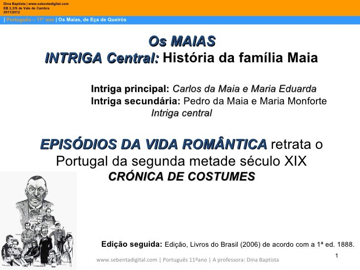 Dina Baptista   www.sebentadigital.comEB 2,3/S de Vale de Cambra2011/2012  Português – 11º ano   Os Maias, de Eça de Queir...