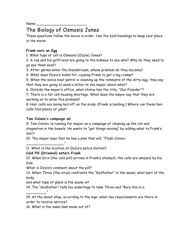 Worksheets Osmosis Jones Worksheet Answers osmosis jones biology of jonesthese questions follow the movie in order