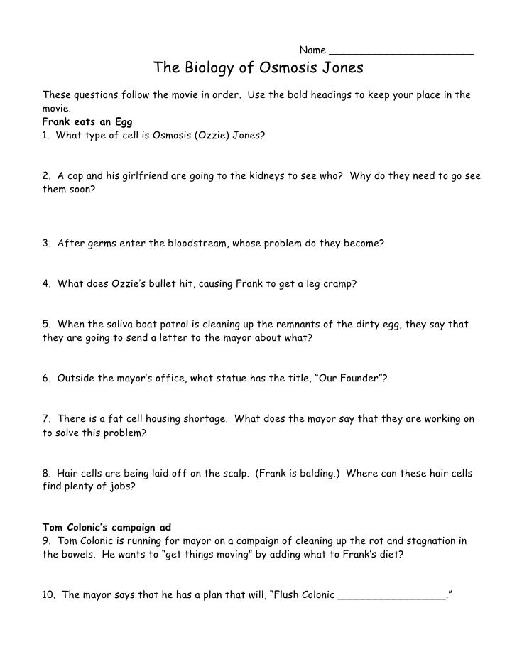 Osmosis Jones Worksheet Answers Pixelpaperskin – Osmosis Jones Worksheet