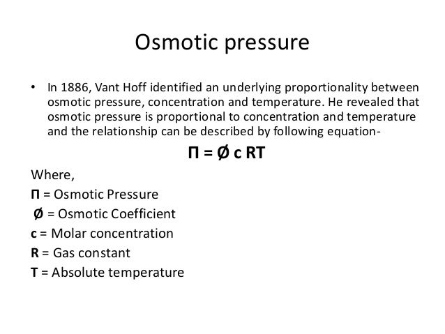 explain the relationship between solute concentrations and osmosis pressure Osmosis is a process wherein solutes travel from one compartment to another compartment depending on their relative concentrations in each of the compartment the 2 compartments are divided by a membrane that allows passage of the solute or in scientific terms - a membrane that is 'permeable' to a given solute.