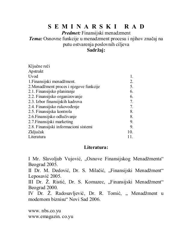 S E M I N A R S K I               R A D             Predmet: Finansijski menadzmentTema: Osnovne funkcije u menadzment pro...