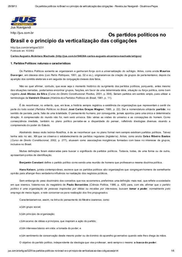 25/09/13 Os partidos políticos no Brasil e o princípio da verticalização das coligações - Revista Jus Navigandi - Doutrina...