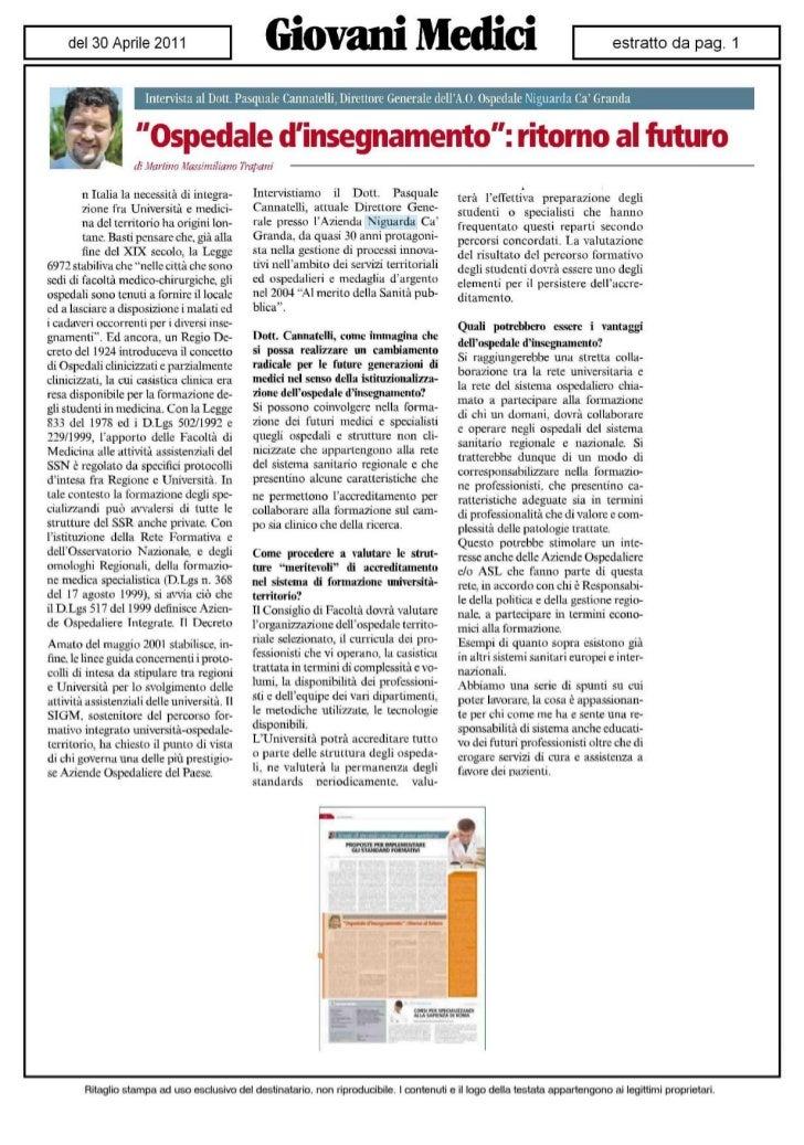 """Intervista al Dott. Pasquale Cannatelli, Direttore Generale dellA.O. Ospedale Niguarda Ca Granda                    """"Osped..."""