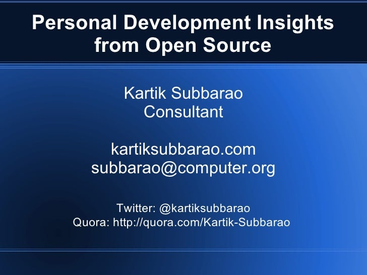 Personal Development Insights from Open Source