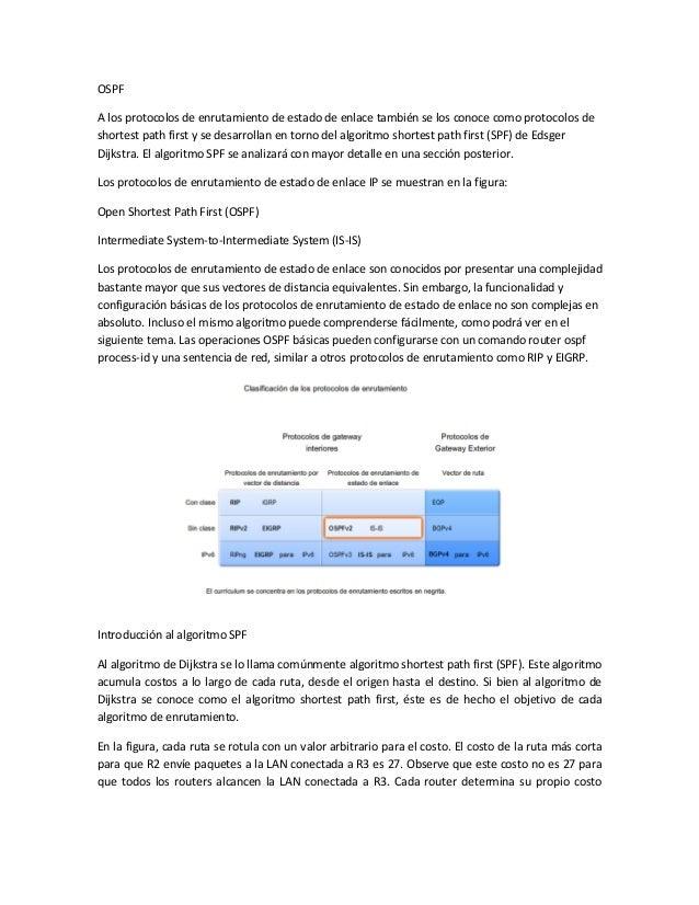 OSPFA los protocolos de enrutamiento de estado de enlace también se los conoce como protocolos deshortest path first y se ...