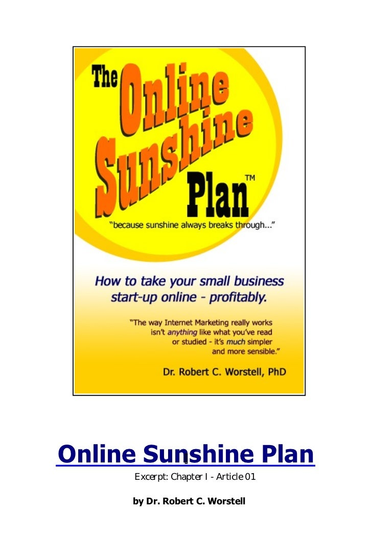 Online Sunshine Plan     Excerpt: Chapter I - Article 01     by Dr. Robert C. Worstell