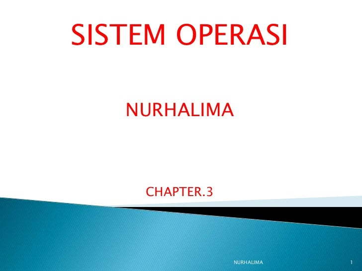 SISTEM OPERASI   NURHALIMA    CHAPTER.3                NURHALIMA   1