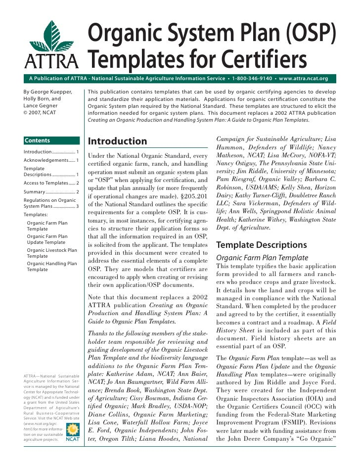 Organic System Plan (OSP) Templates for Certifiers