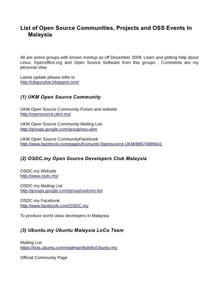 List Of OSS Communities Malaysia 2009