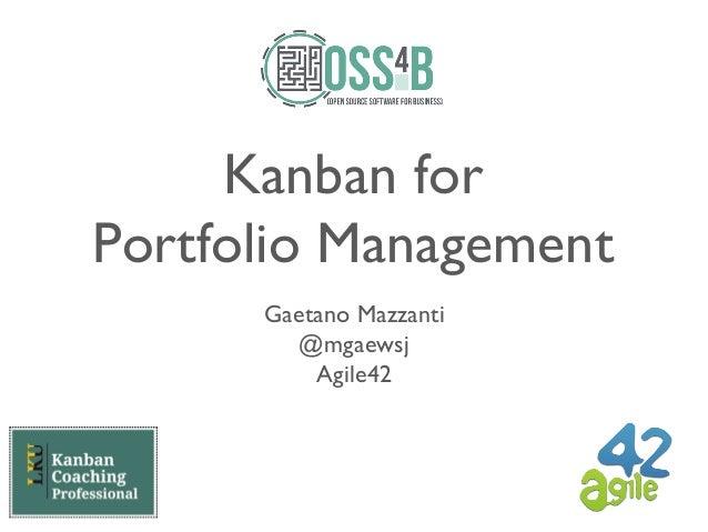 Kanban for Portfolio Management