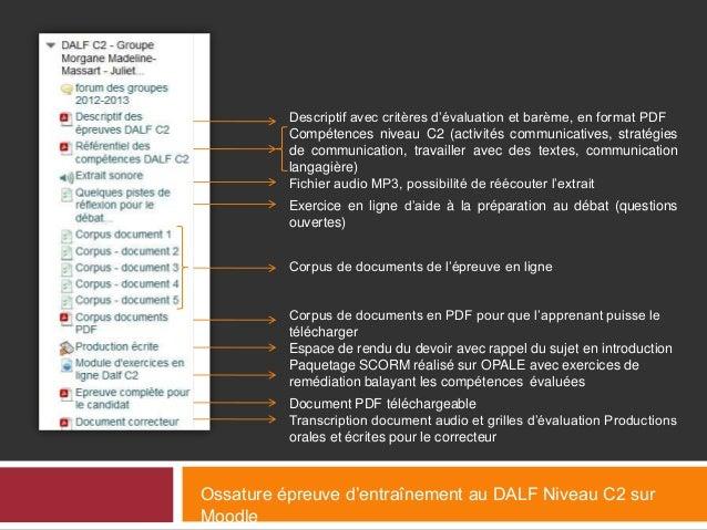 Descriptif avec critères d'évaluation et barème, en format PDF Compétences niveau C2 (activités communicatives, stratégies...