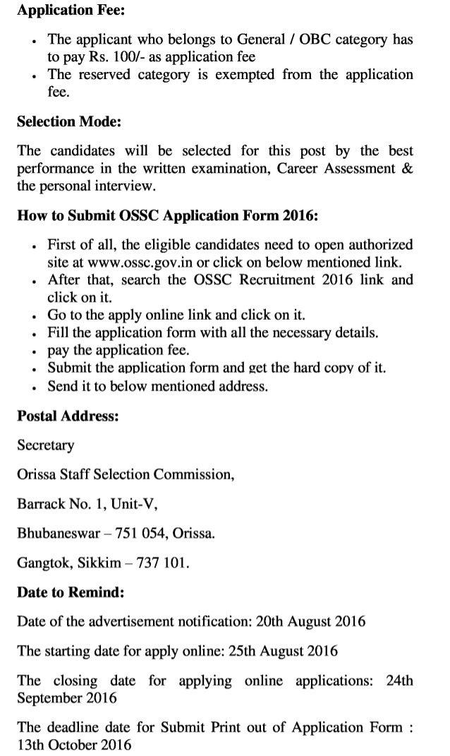 Ossc govt job recruitment 2016 latest assistant training officer vacancy exam result