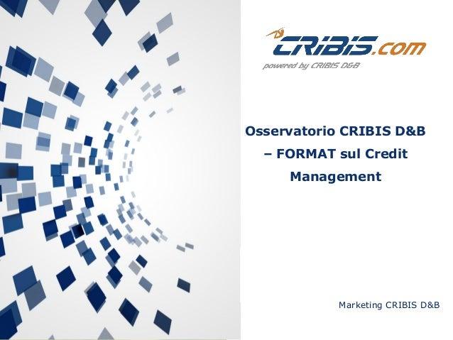 Marketing CRIBIS D&B Osservatorio CRIBIS D&B – FORMAT sul Credit Management