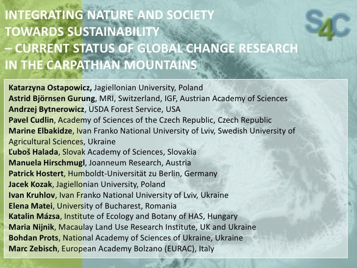 Integrating nature and society towards sustainability - current status of global change research in the Carpathian Mountains [Katarzyna Ostapowicz]