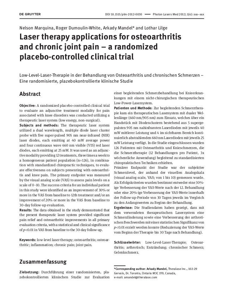 DOI 10.1515/plm-2012-0030       Photon Lasers Med 2012; 1(4): xxx–xxxNelson Marquina, Roger Dumoulin-White, Arkady Mande...