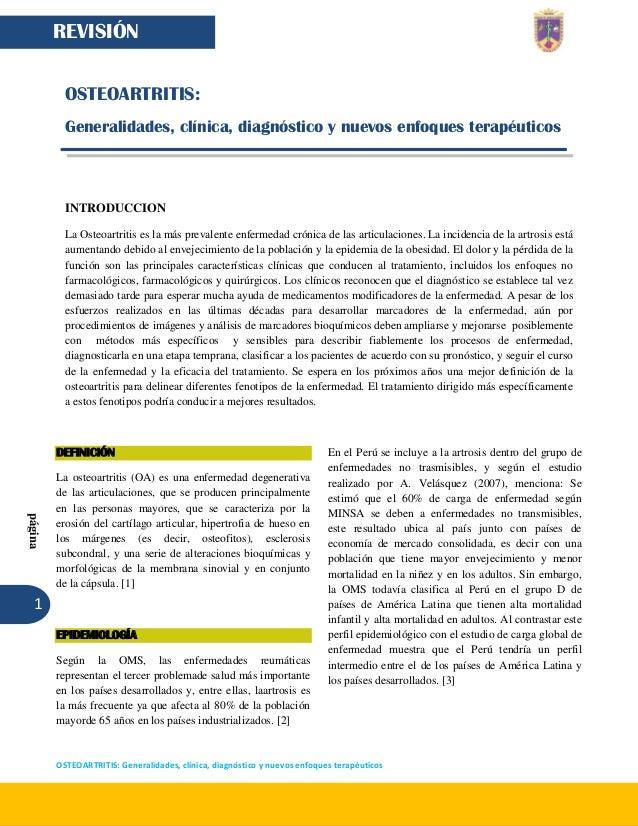 1  página  OSTEOARTRITIS: Generalidades, clínica, diagnóstico y nuevos enfoques terapéuticos  REVISIÓN  OSTEOARTRITIS:  Ge...