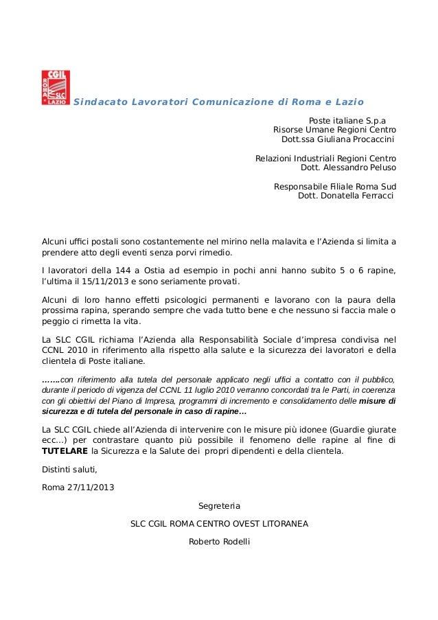 Sindacato Lavoratori Comunicazione di Roma e Lazio Poste italiane S.p.a Risorse Umane Regioni Centro Dott.ssa Giuliana Pro...
