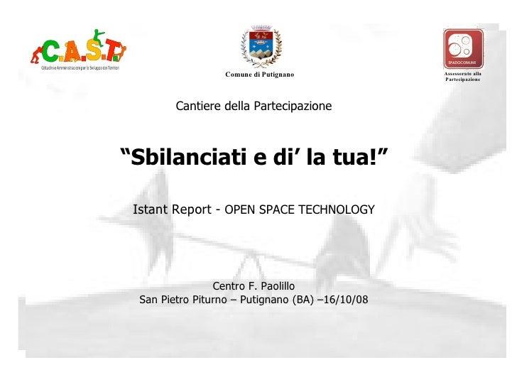 Open Space Technology progetto Sbilanciati e dì la tua!