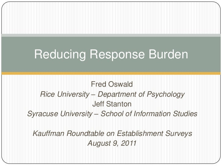 Reducing Response Burden