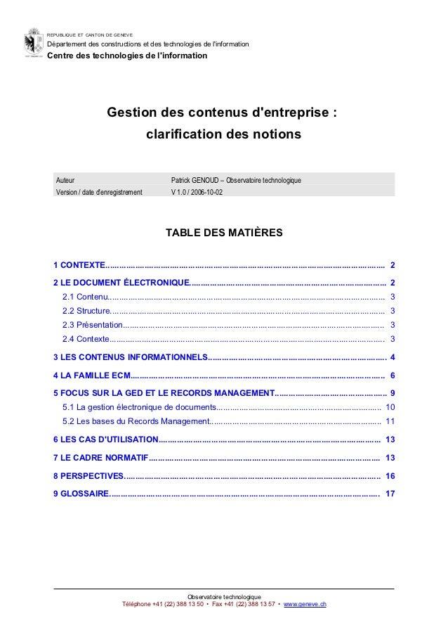 REPUBLIQUE ET CANTON DE GENEVEDépartement des constructions et des technologies de linformationCentre des technologies de ...