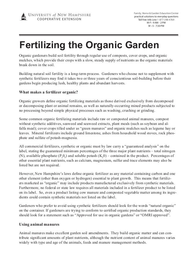 Fertilizing the Organic Garden ~ University of New Hampshire