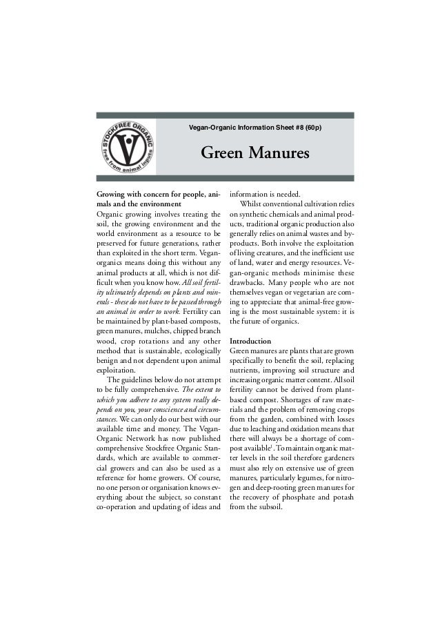 Vegan-Organic Information Sheet #8 (60p)  Green Manures Growing with concern for people, animals and the environment Organ...