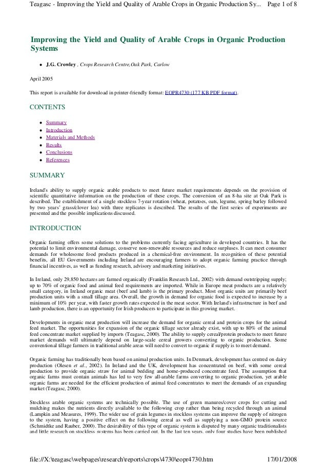 Teagasc - Improving the Yield and Quality of Arable Crops in Organic Production Sy... Page 1 of 8  Improving the Yield and...