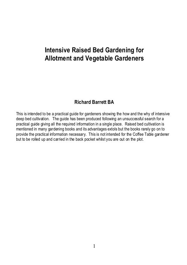 Intensive Raised Bed Gardening ~ United Kingdom