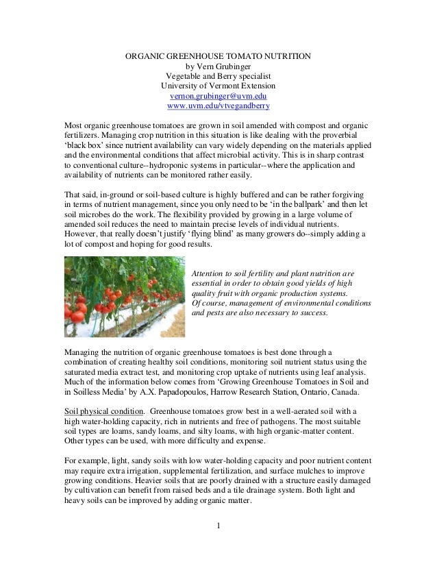 ORGANIC GREENHOUSE TOMATO NUTRITION by Vern Grubinger Vegetable and Berry specialist University of Vermont Extension verno...