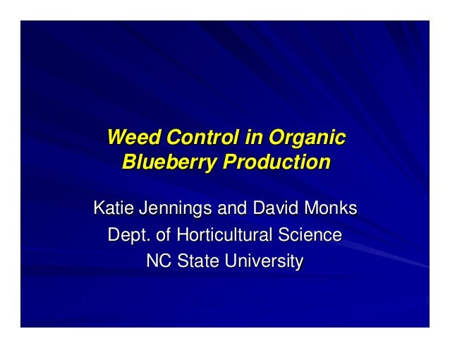 Weed Control in Organic Blueberry Production Katie Jennings and David Monks Dept. of Horticultural Science NC State Univer...