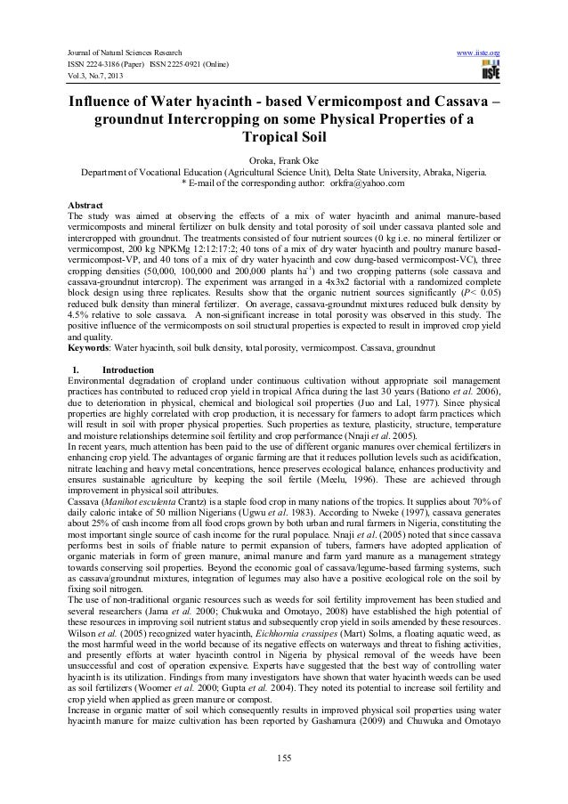 Journal of Natural Sciences Research ISSN 2224-3186 (Paper) ISSN 2225-0921 (Online) Vol.3, No.7, 2013  www.iiste.org  Infl...