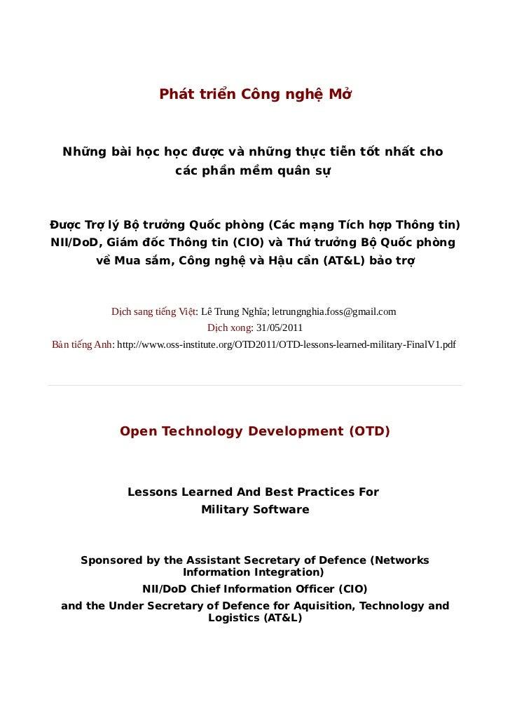 Phát triển Công nghệ Mở  Những bài học học được và những thực tiễn tốt nhất cho                            các phần mềm qu...