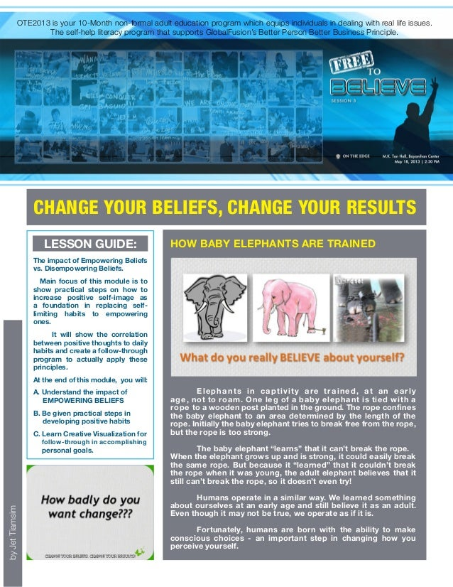 SESSION 3: FREE TO BELIEVE, YOUR BELIEF WILL SET YOU FREE