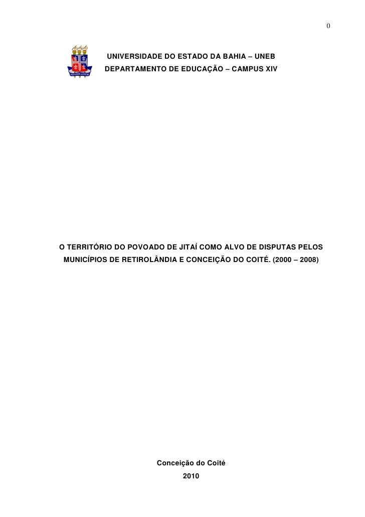 0           UNIVERSIDADE DO ESTADO DA BAHIA – UNEB          DEPARTAMENTO DE EDUCAÇÃO – CAMPUS XIVO TERRITÓRIO DO POVOADO D...