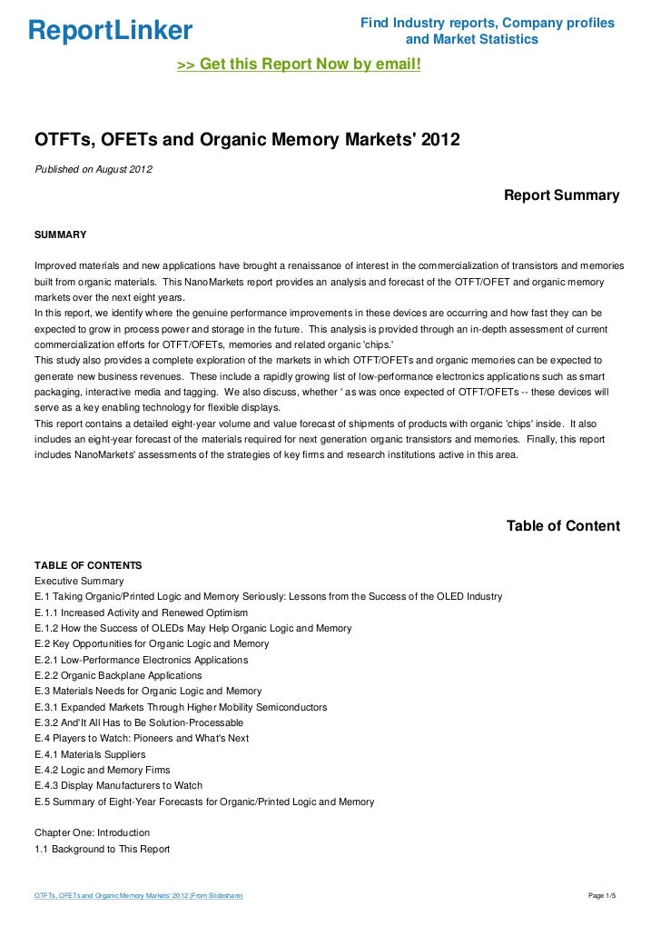 OTFTs, OFETs and Organic Memory Markets' 2012