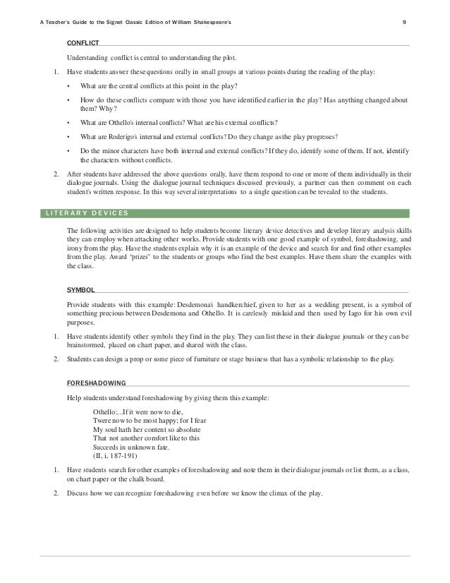 "essay prompts for othello ""the othello guide includes fine 'commentary', 'overview,' and 'student response' sections for each scene, as well as essay questions and practice commentaries."