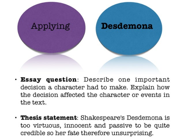 desdemona essay topics Shakespeare's plays are deep and multi-level, and othello essay topics will help you decide  what does desdemona represent in the play.