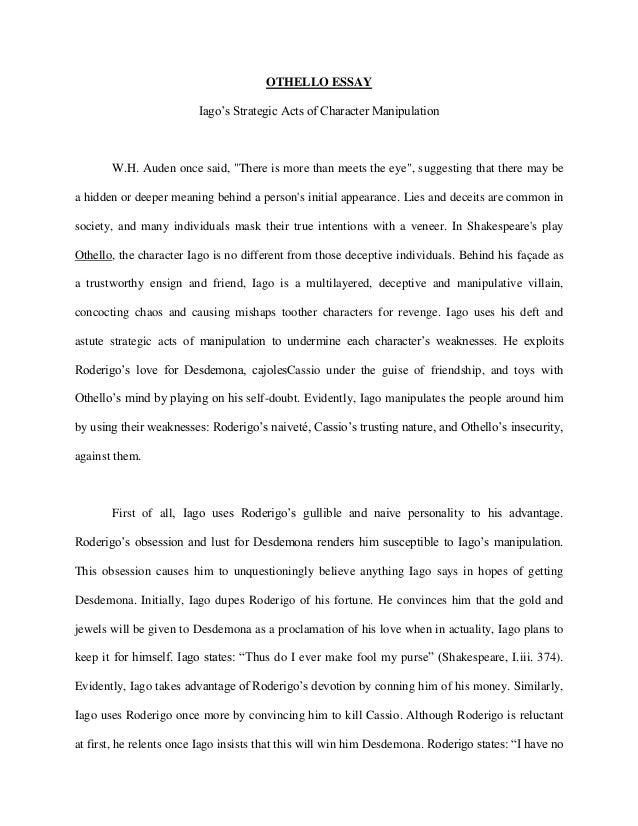 Good creative essay ideas for othello