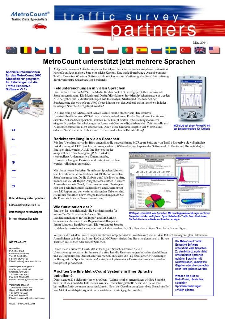 März 2004                                 MetroCount unterstützt jetzt mehrere Sprachen                                   ...