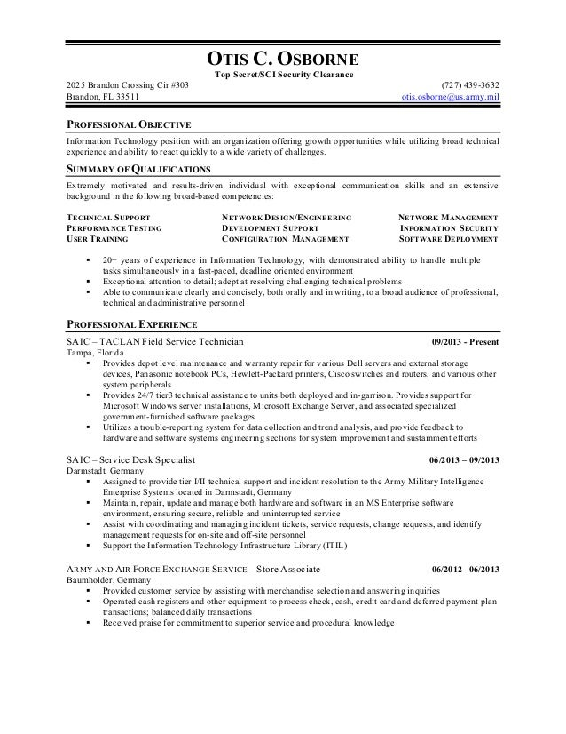 resume examples security clearance
