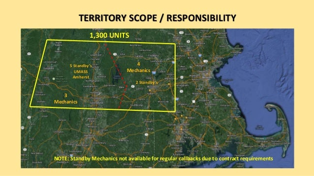 TERRITORY SCOPE / RESPONSIBILITY 1,300 UNITS 3 Mechanics 4 Mechanics 5 Standby's UMASS Amherst 2 Standby's NOTE: Standby M...